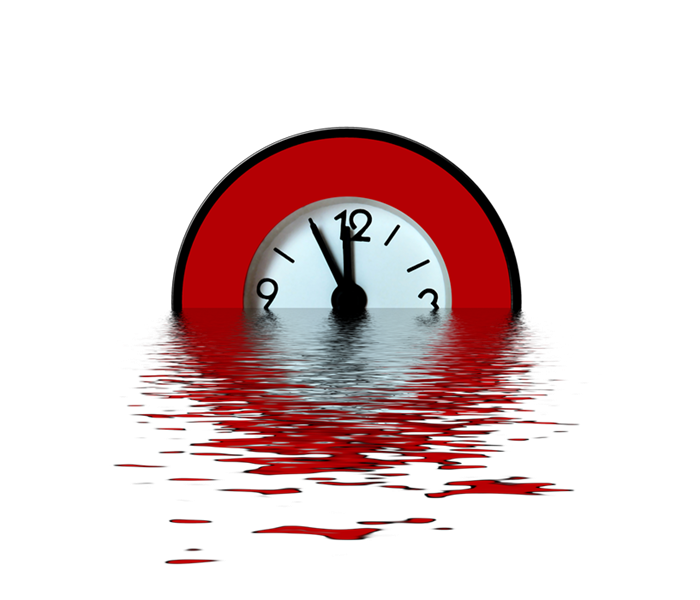 Clock sinking in water