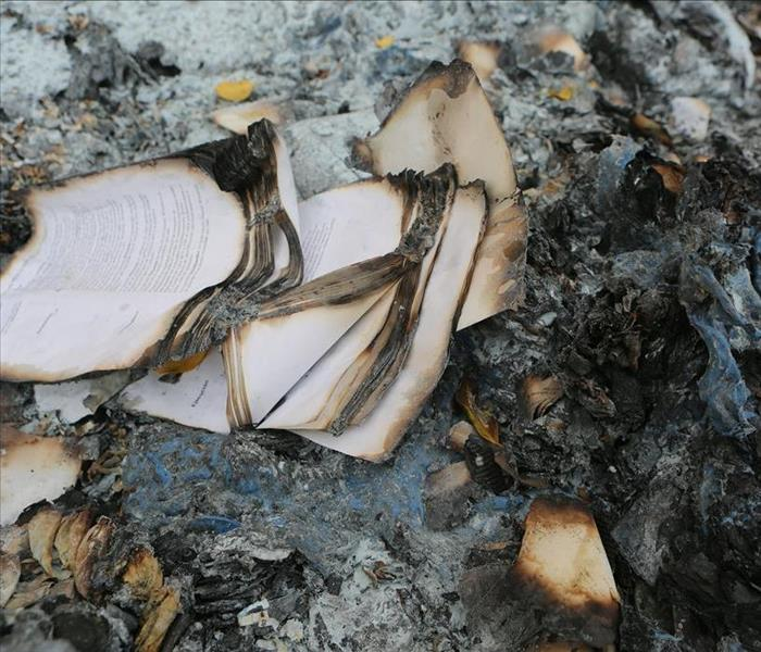 Papers charred by fire